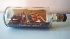 Vintage Ship in a Bottle with Diorama in an old by RAVERETRO