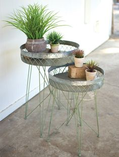 GALVANIZED WIRE SIDE TABLE, SET OF 2