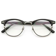Vintage Black-Silver Rx Optional Clubmaster Glasses 2946ZU ($31) ❤ liked on Polyvore featuring accessories, eyewear, eyeglasses, glasses, sunglasses, half frame eyeglasses, lens glasses, wayfarer style glasses, half-frame glasses and wayfarer eyeglasses