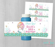 Mermaid Bubble Labels, Printable Bubble Labels, Mermaid Bubble Wrappers, Mermaid Birthday, Narwhal, Instant Download, Narwhal labels, Favors by SarahFinnDesign on Etsy