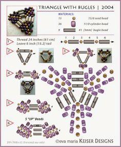 peyote triangle with bugle beads Seed Bead Patterns, Beaded Jewelry Patterns, Beading Patterns, Bracelet Patterns, Beaded Beads, Bugle Beads, Beaded Bracelets, Embroidery Bracelets, Beading Projects