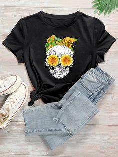 Maglietta con stampa floreale e cranio | SHEIN ITALIA