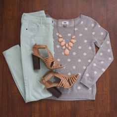 Stitch Fix, mint and polka dots with a pop of peach... love the www.pearlsandsportsbras.com (love the sweater, peach necklace, and mint pants) Great for Spring!!