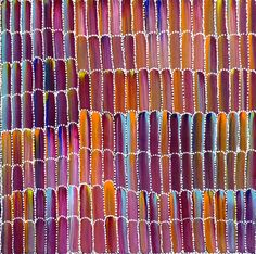 """Aboriginal dot painting by Jeannie Mills Pwerle of Utopia: """"Anaty (Desert Yam)"""". Learn more. Buy now from Utopia Lane Art."""