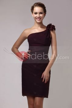 Fast Shipping Ruffles Short/Mini One-Shoulder Sheath/Column Sandra's Bridesmaid Dress : Tidebuy.com