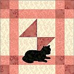 Odds and Ends quilt block with kitty