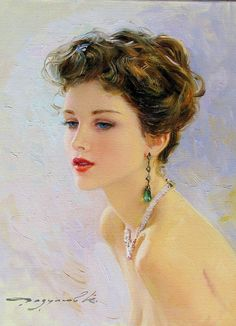 Konstantin Razumov (born 1974): Portrait of a young lady with Emerald earrings.