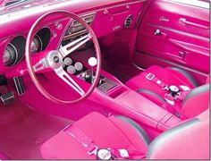 Hot pink car interior ~ I think I could drive this. Color Rosa, Pink Color, Pink Love, Pretty In Pink, Pretty Cars, Perfect Pink, Nice Cars, Vintage Pink, Pink Car Interior