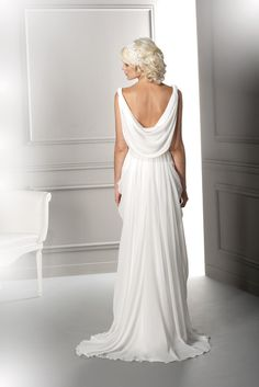 (back)Herve Mariage Grecian dress--back. Love the draping.
