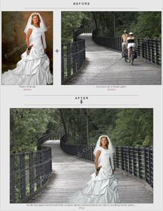 Background change in bride's photo. Photo editing example of 'background change' and 'merging' of photos.  http://www.freephotoediting.com/samples/change-background/006.htm