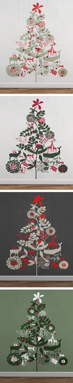 RP Love these whimsical tree decals — perfect for a smaller space. Wall Christmas Tree, Noel Christmas, Christmas Tree Design, Xmas Tree, All Things Christmas, Winter Christmas, Christmas Crafts, Christmas Decorations, Illustration Noel