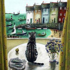 Cat in the window painting. Rebecca Lardner
