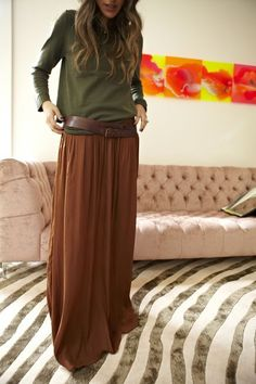 long skirt, warm colors