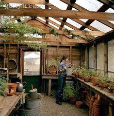 Rustic garden shed interior