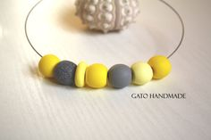 Unique sunflower necklace/Modern yellow by GATODesign on Etsy