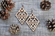 Laser cut earrings made of birch wood. Available in natural color. Oxidized Copper ear wires. All jewelry comes packaged in a gift box - perfect for