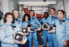 NASA faced its first shuttle disaster, the loss of the Challenger orbiter and its seven-astronaut crew. Jan 31 -NASA day of rememberance for the Challenger and Columbia Crew Space Shuttle Challenger Crew, Challenger Space, Space Disasters, Space Shuttle Disasters, Challenger Explosion, Christa Mcauliffe, Space Shuttle Missions, Nasa Images, Space Shuttle