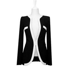12d846d5fa1cd Bumud Women Black White Colors Contrast OL Career Slim Suit Blazer Jacket M  US Size 46