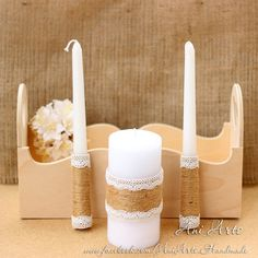 Unity Candle Set Rustic Unity Candles Wedding Candles by AniArts