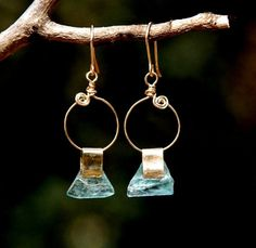 Ancient Roman Glass Earrings in Gold Filled.Handmade