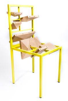 | minimaliste | chair | minimalism | minimalist chair | box chair | playful chair | yellow | lego chair | tournis | pleats
