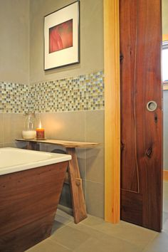 Pocket doors are really great space savers. Plus I want to get the pretty kind. In this photo: A walnut pocket door affords privacy between the bath and toilet area in a Portland OR home. Doors, Woodworking Designs, Interior, Custom Interior Doors, Timber Frame, Wood Doors Interior, Fine Woodworking, Live Edge Furniture, Doors Interior
