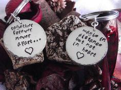 Together Forever, Never Apart Long Distance Relationship Keychain Set. $22.00, via Etsy.