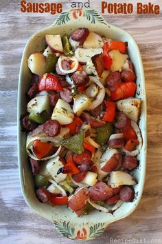 "Sausage and Potato Bake - Here's a very simple one-dish, delicious dinner to make for one of those ""Oh my gosh, I have to feed all of these people and I don't feel like cooking!"" nights: Sausage and Potato Bake"