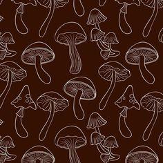 Download Engravinghand Drawn Mushroom Pattern for free