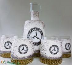 Mercedes rajongóknak különleges formájú whiskys üveg 4 db pohárral, egyedi darab évfordulóra, szülinapra, névnapra (Biborvarazs) - Meska.hu Whisky, Whiskey