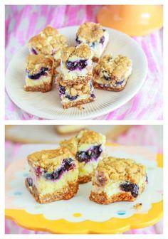 Blueberry Lemon Cheesecake Bars by sallysbakingaddic. Just Desserts, Delicious Desserts, Dessert Recipes, Yummy Food, Lemon Cheesecake Bars, Blueberry Cheesecake, Blueberry Bars, Cheesecake Desserts, Blueberry Recipes