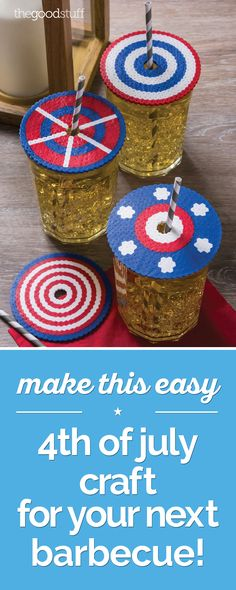 Easy of july craft: patriotic drink protectors perler be Melty Bead Patterns, Beading Patterns, Bead Crafts, Arts And Crafts, Peler Beads, Diy Perler Beads, How To Make Drinks, Melting Beads, Origami Instructions