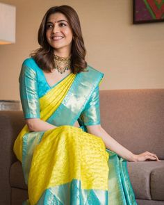 Kajal Aggarwal's Jewellery Style is So Elegant! Wedding Saree Blouse Designs, Half Saree Designs, Pattu Saree Blouse Designs, Fancy Blouse Designs, Silk Saree Kanchipuram, Silk Sarees, Bridal Silk Saree, Saris, Saree Trends