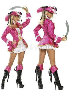 Sexy Rose Red Patchwork Velour Woman's Adult Pirate Costume - Milanoo.com