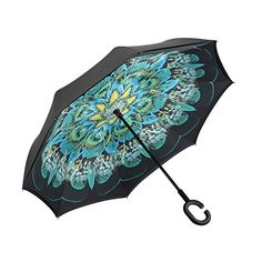 Double Layer Inverted Umbrella Cars Reverse Umbrella Elover Windproof UV Protection Big Straight Umbrella for Car Rain Outdoor With C-Shaped Handle and Carrying Bag (Peacock)