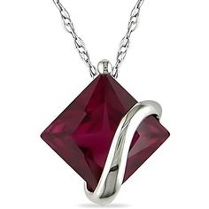 Miadora 10k White Gold Created Ruby Necklace (10k White Gold Created... (7.615 RUB) ❤ liked on Polyvore featuring jewelry, necklaces, accessories, collares, pendant chain necklace, square pendant, ruby pendant necklace, collar necklace and ruby pendant
