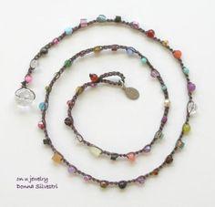 Donna Silvestri multi-level color stone crochet bracelet