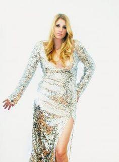 Plus Size Silver Long Sleeve V-back & V-front Gow,  Dress, sequin dress  las vegas dress  longer, Chic