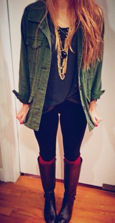 For autumn and winter: Army jacket, oversized shirt, jewelry overload, black jeans, awesome boots with thick socks.