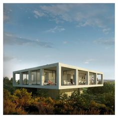 Architect Pezo von Ellrichshausen's Solo House, built in Spain in 2013, seems to float above the lanfscape.