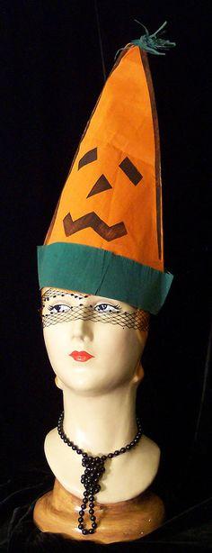 Vintage TALL Orange JACK O LANTERN Costume Crepe Paper Halloween Hat 30s to 50s.  via Etsy.