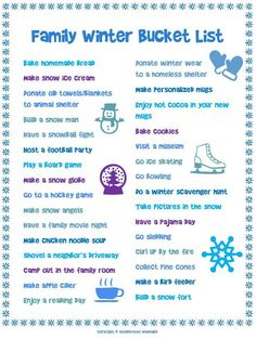 This free printable family winter bucket list is full of fun cold-weather activities for the whole family.