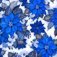 """Flor do Natal"" azul (estampa digital)"