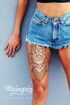 New tattoo rose mandala design ideas Popular Tattoos, Trendy Tattoos, Unique Tattoos, Tattoos For Guys, Tattoos For Women, Gorgeous Tattoos, Girly Tattoos, Mandala Tattoo Design, Dotwork Tattoo Mandala
