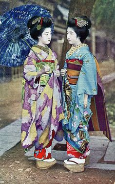 Maiko Hatsuko and Maiko Hiroko 1920s by Blue Ruin1, via Flickr