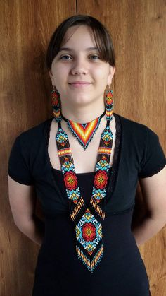 set of jewelry 3 pieces necklace and earrings set Native