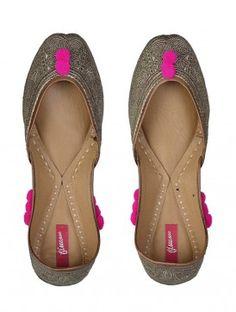 Gold-Pink Paisley Mojris