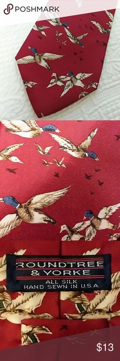 Italian Print ⚀Silk Tie Gorgeous Ducks in Flight  ⚀ ALL TIES BOGO FREE ⚀  Roundtree & Yorke  Silk & Hand Printed in Italy Hand sewn in the USA  Bright burgundy silk with fine detailed ducks in flight  From Dillards Perfect condition  No snags  No stains No holes   Have fun🎈🎈🎈 Roundtree & Yorke Accessories Ties