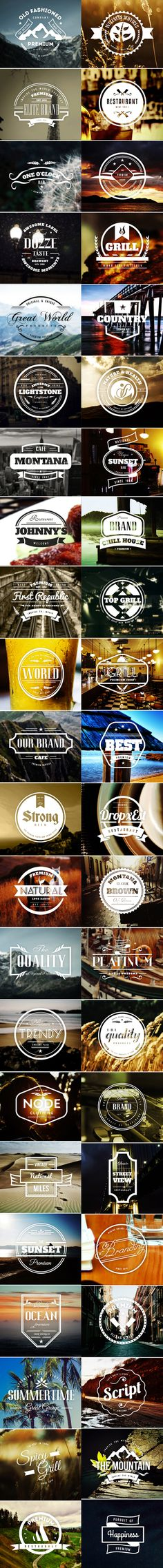 45 Vintage Labels & Badges Logos - Premium Bundle by Design District, via Behance.
