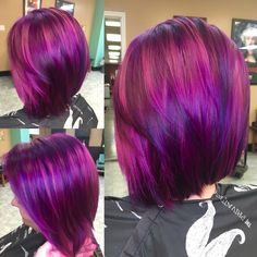 Magenta and purple hair by Victoria Sylvis Magenta und lila Haare von Victoria Sylvis Pastel Purple Hair, Hair Color Purple, Bright Hair, Purple Bob, Hair And Beard Styles, Short Hair Styles, Wash Out Hair Color, Pelo Multicolor, Dip Dyed Hair